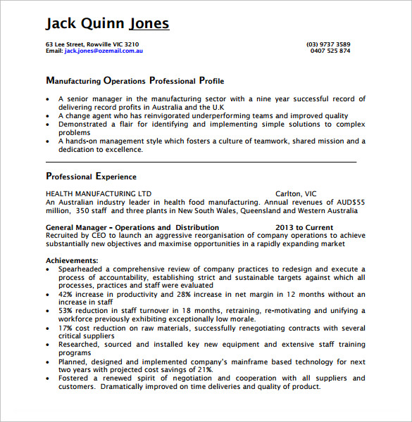 resume for operations manager