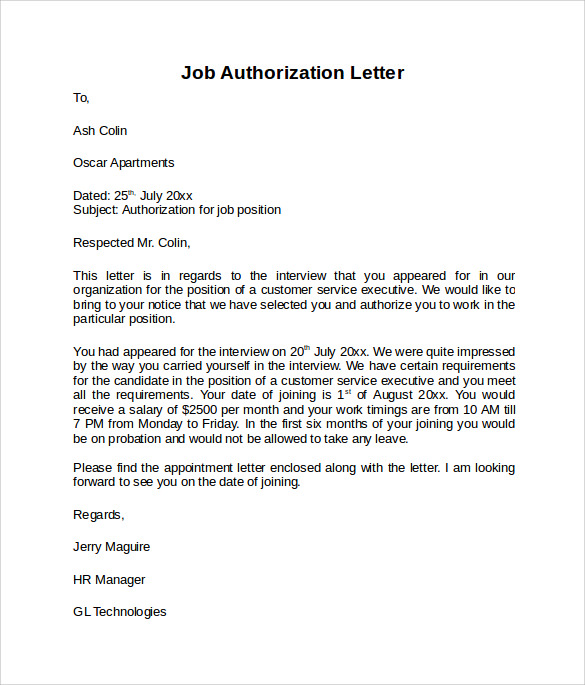 Sample Letter Of Authorization Word