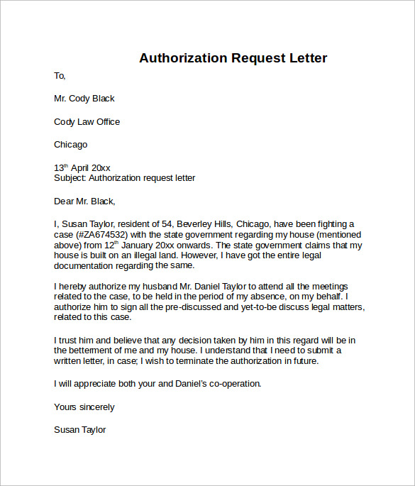 Sample Letter Of Authorization 8 Free Examples