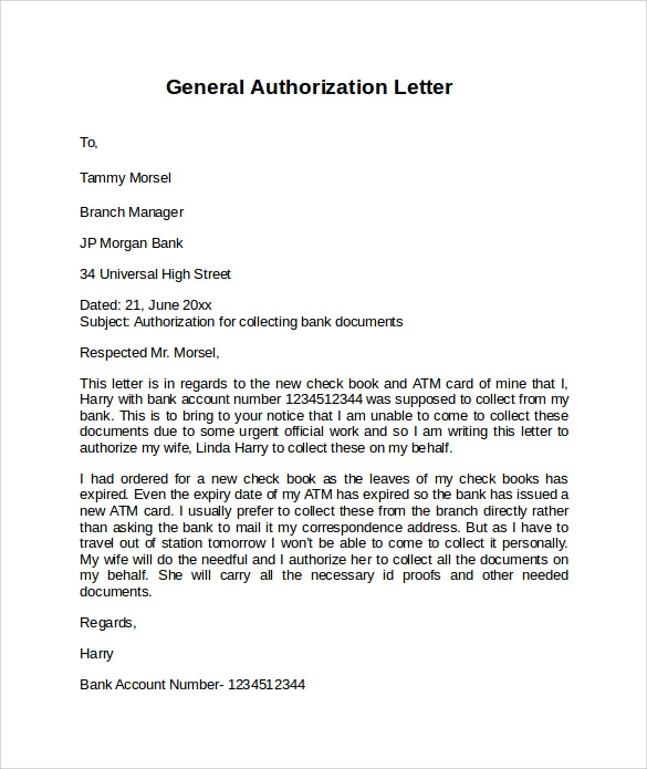 Bank Authorization Letter Authorisation Letter For Bank