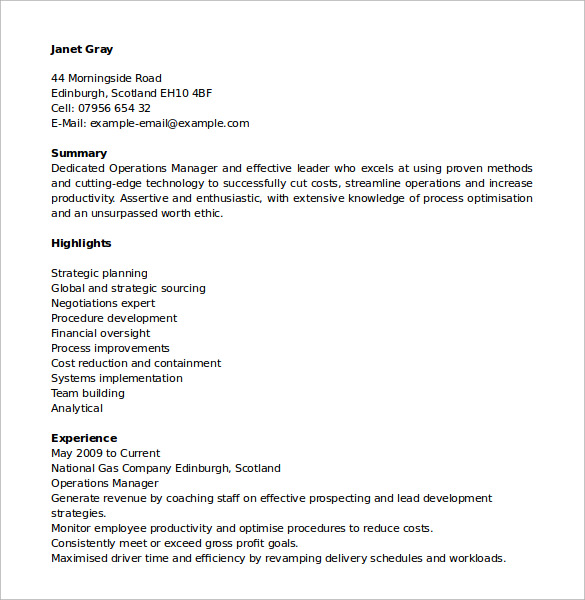 resume of operations manager