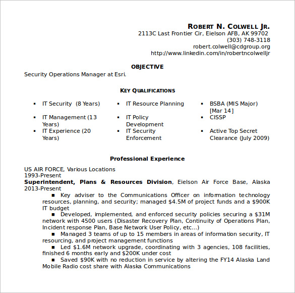 security operations manager resume