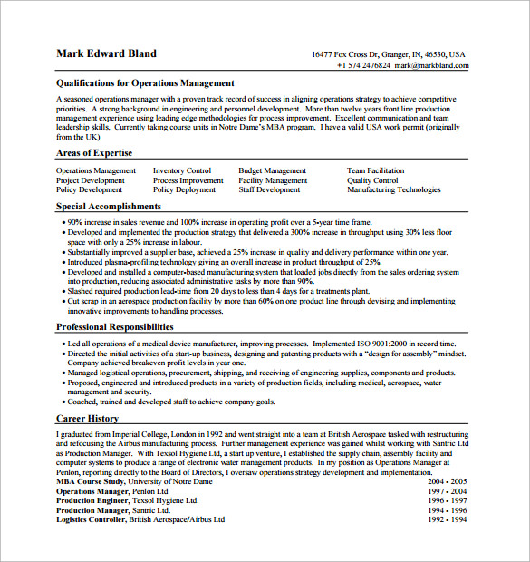 Example Operation Manager Resume  Resume For Operations Manager