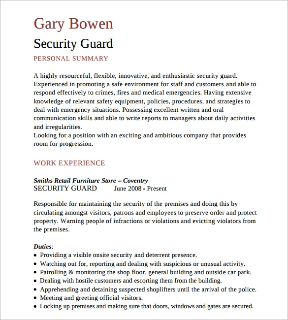 security guard resume template sample canada format download