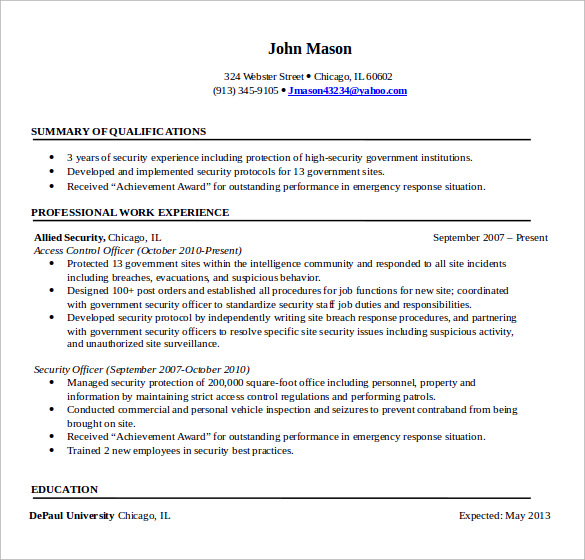 sample security professional resume