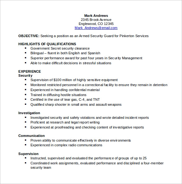 Sample Security Resume Download Free Documents In PDF Word - Resume for security guard