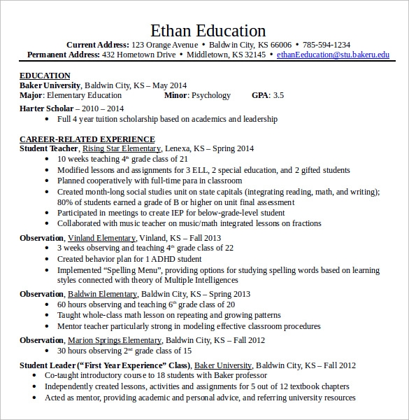 Elementary Teacher Resume 12 Download Free Documents