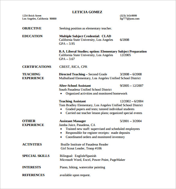 Example Of Teaching Resume Elementary School Teacher Resume Example