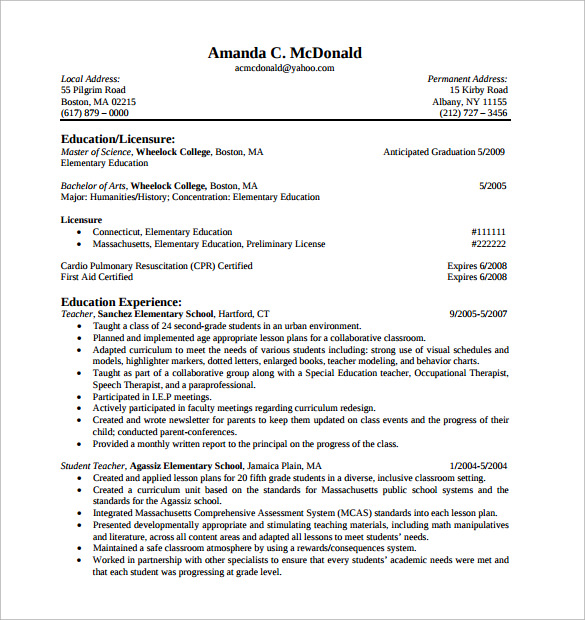 cv of elementary teacher resume