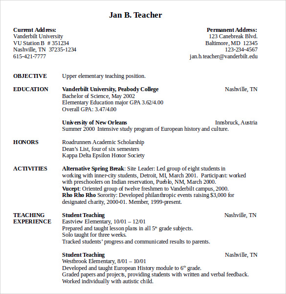 upper elementary teacher resume