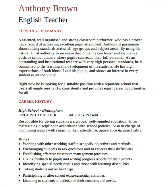 english elementary teacher resume