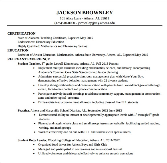 sample elementary teacher cv