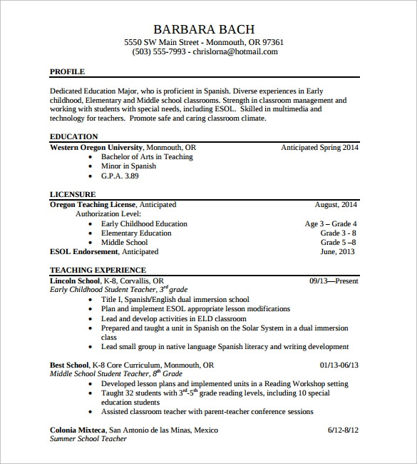 resume of teacher in word format