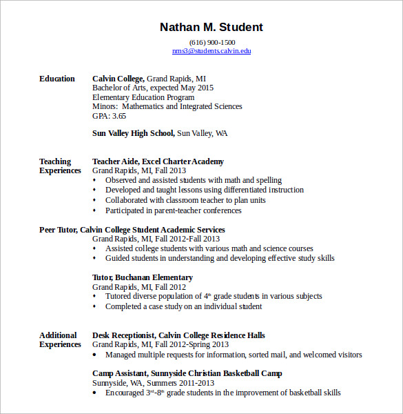 Example teacher resume elementary