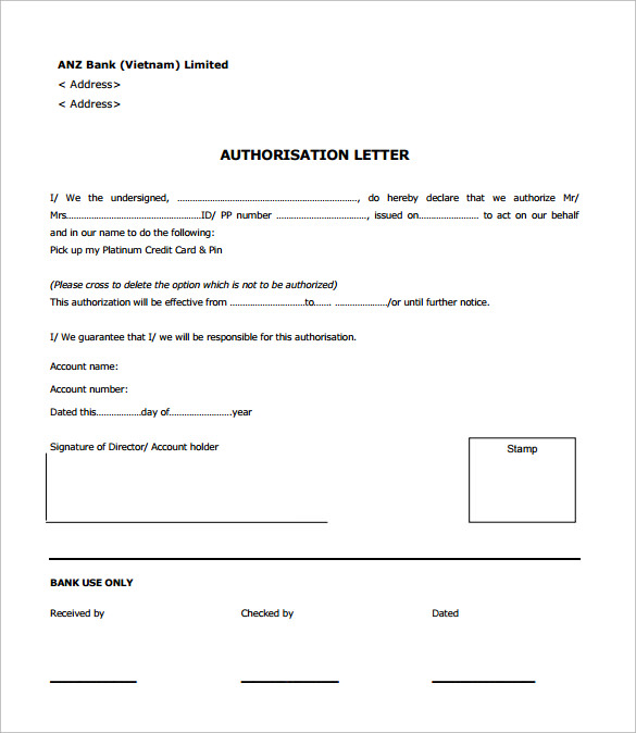 Sample Bank Authorization Letter   Free  Examples  Format