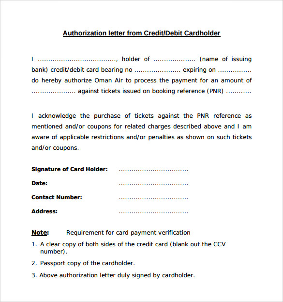 sample bank authorization letter form
