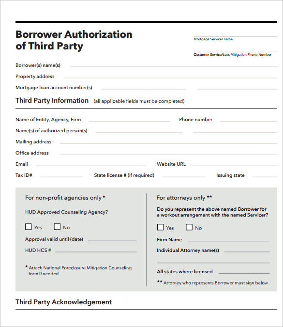 Sample Third Party Authorization Letter   Free  Examples  Format