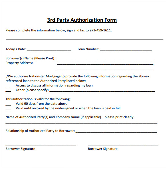 Sample Third Party Authorization Letter 8 Free Examples Format – Sample Third Party Authorization Letter