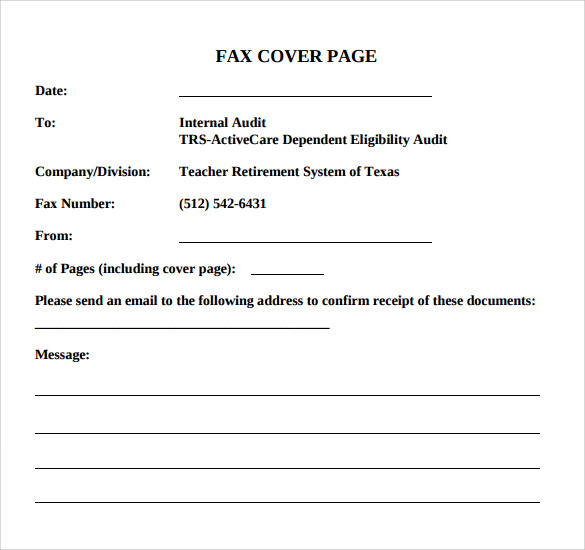 14 Sample Basic Fax Cover Sheets Sample Templates