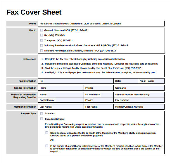 urgent fax cover sheet to print