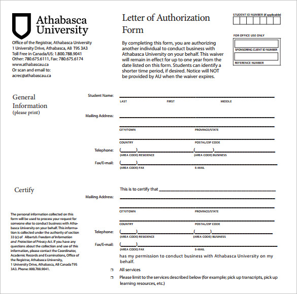Letter Of Authorization Form   Samples Examples Format