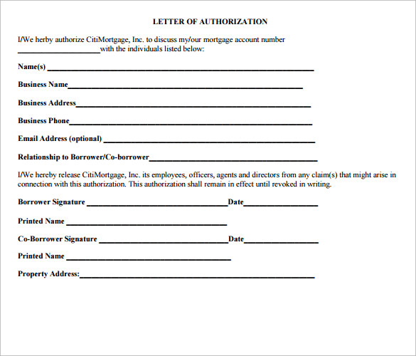 printable letter of authorization form