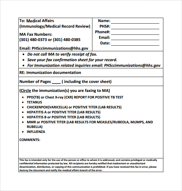 Medical Fax Cover Sheet   Documents In Pdf Word