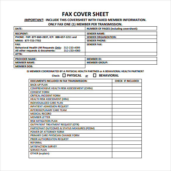 Fax Cover Example. Free Fax Cover Sheets To Print Free Fax