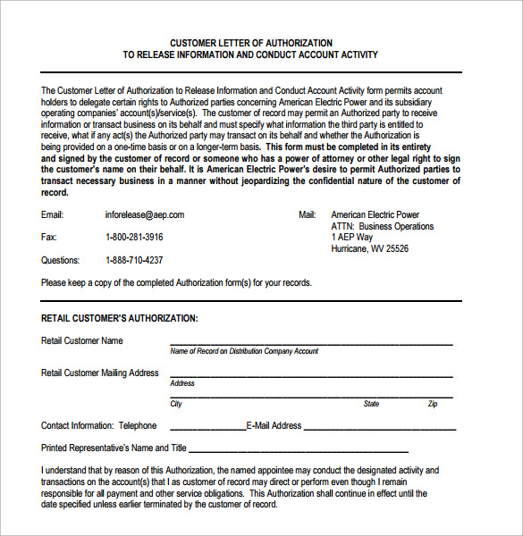 customer letter of authorization form