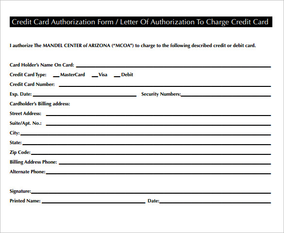 letter of authorization to use credit card letter of authorization form 19 samples examples format 18101