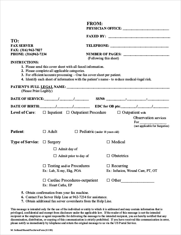 fax cover sheet pages