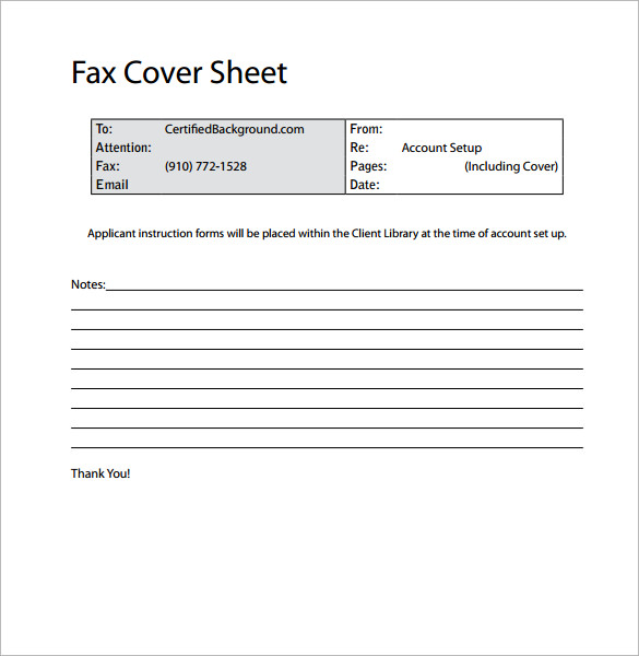 Sample Professional Fax Cover Sheet    Examples Format