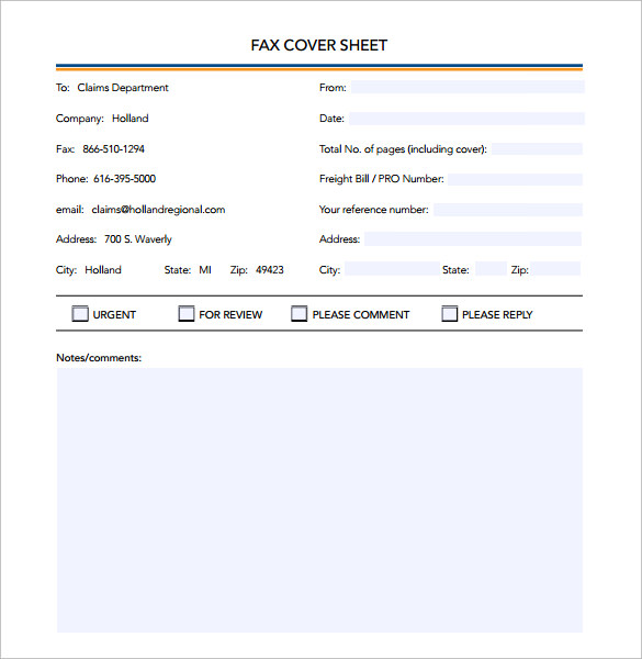 sample fax cover sheet professional