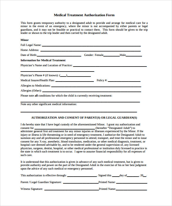 Sample Medical Treatment Authorization Letter   Free  Examples