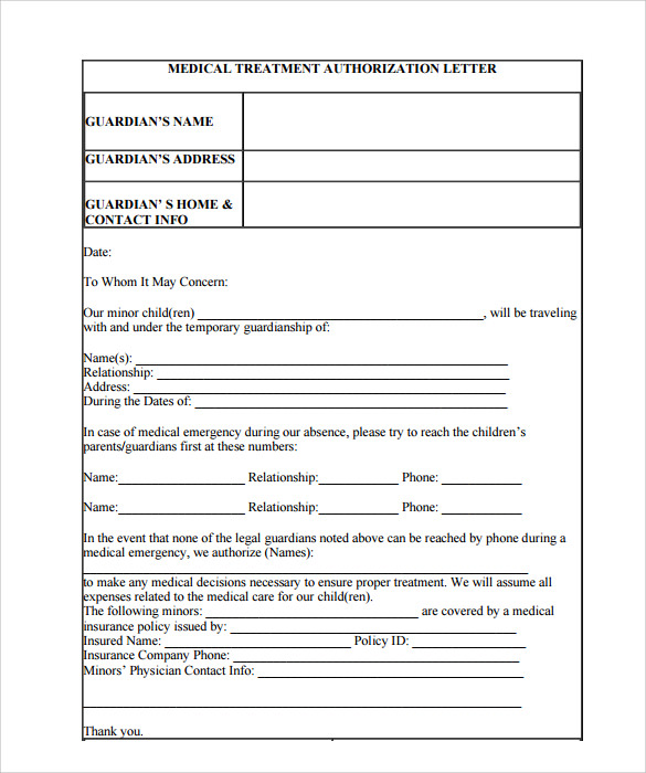 sample medical treatment authorization letter format