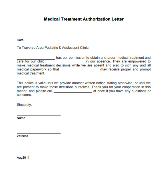 Sample Medical Treatment Authorization Letter 9 Free Examples – Sample Medical Authorization Letter