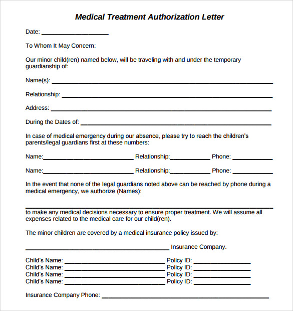 10 sample medical treatment authorization letter free examples sample medical treatment authorization letter download spiritdancerdesigns Image collections
