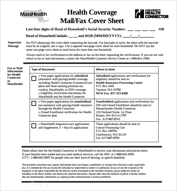 Sample Masshealth Fax Cover Sheet - 8 + Documents In Pdf, Word