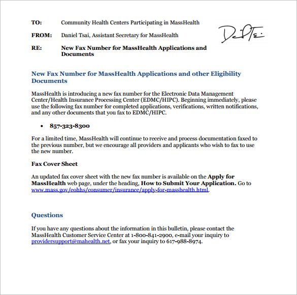 Sample Masshealth Fax Cover Sheet    Documents In Pdf Word