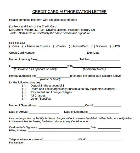 sample credit card authorization letter free1