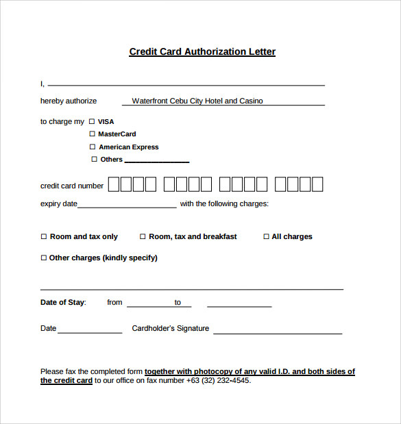 Sample Credit Card Authorization Letter 9 Free