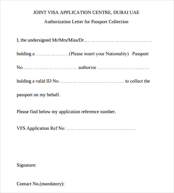 Passport Authorization Letter    Free Samples  Examples  Format
