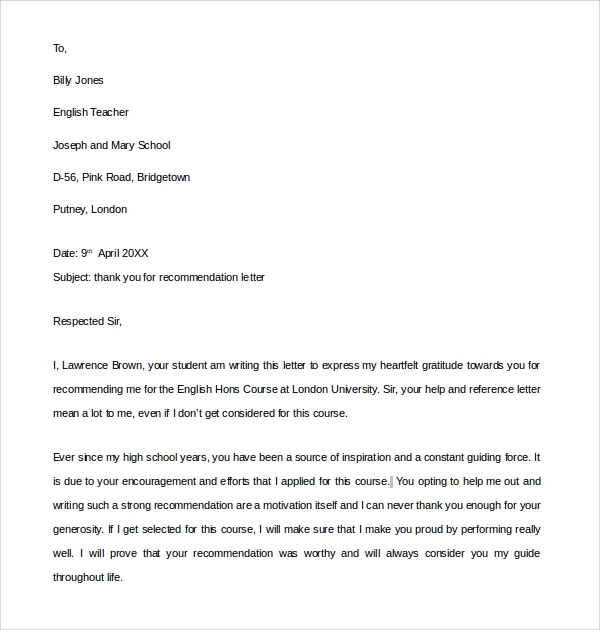 Sample Thank You Letter For Recommendation   Download Free