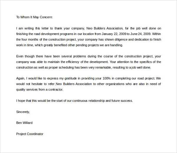 thank you letter for letter of recommendation Sample Thank You Letter for Recommendation - 9  Download Free ...