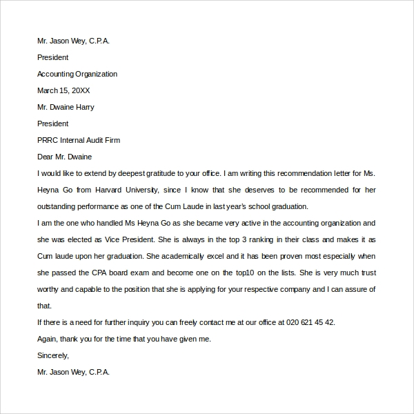 sample thank you letter for recommendation