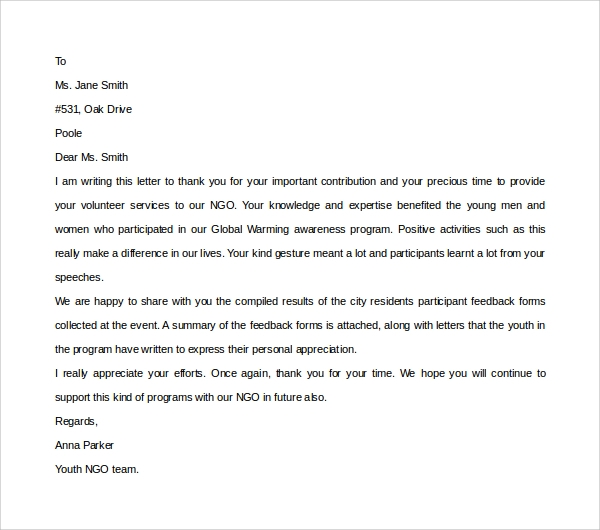 Sample Volunteer Thank You Letter - 9+ Download Free Documents In