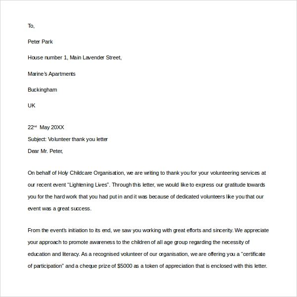 Thank You Letter Format Example Sample Thank You Business Letters