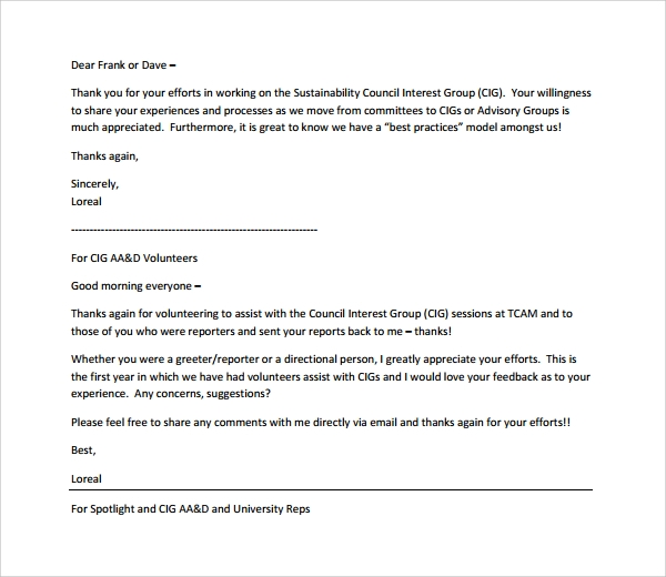 Sample Volunteer Thank You Letter   Download Free Documents In