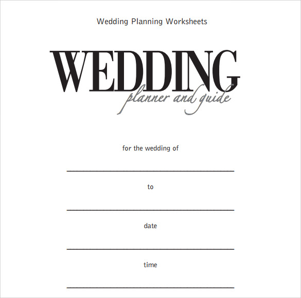 wedding planner worksheet template