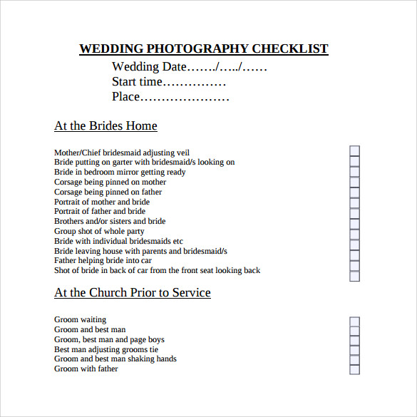 Wedding Checklist Template Free